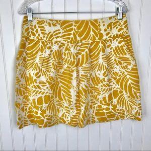 LOFT Yellow Linen Pleated Bubble Mini Skirt 8